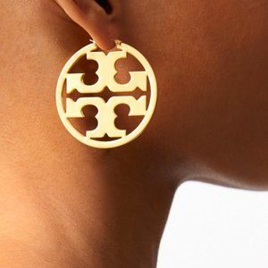 Tory Burch Gold Signature Miller Hoop Earrings